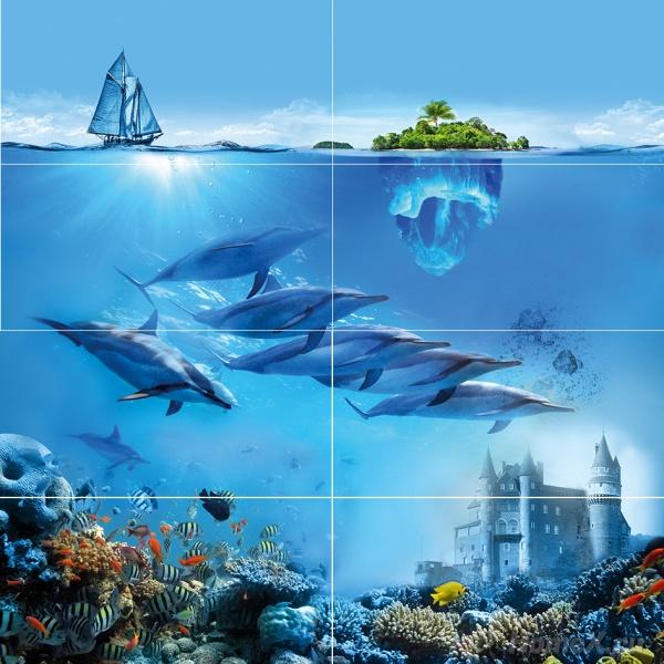 Панно Ceramica Classic Tile Ocean Deep 80x80 (комплект)Плитка<br>Тип плитки: Керамическая плитка. Применение: Ванная. Тип элемента: Панно. Ширина (см): 80. Длина (см): 80. Поверхность: Глянцевая, Гладкая. Дизайн: Флора и фауна. Цвет: Синий<br><br>Тип плитки: Керамическая плитка<br>Применение: Ванная<br>Тип элемента: Панно<br>Ширина (см): 80<br>Длина (см): 80<br>Поверхность: Глянцевая, Гладкая<br>Дизайн: Флора и фауна<br>Цвет: Синий
