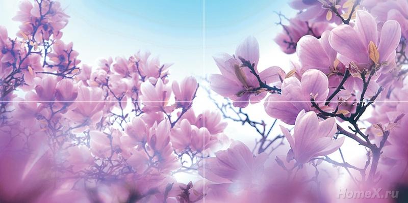 Панно Ceramica Classic Tile Magnolia 80x40 (комплект)Плитка<br>Тип плитки: Керамическая плитка. Применение: Ванная. Тип элемента: Панно. Ширина (см): 80. Длина (см): 40. Поверхность: Глянцевая, Гладкая. Дизайн: Флора и фауна. Цвет: Фиолетовый<br><br>Тип плитки: Керамическая плитка<br>Применение: Ванная<br>Тип элемента: Панно<br>Ширина (см): 80<br>Длина (см): 40<br>Поверхность: Глянцевая, Гладкая<br>Дизайн: Флора и фауна<br>Цвет: Фиолетовый