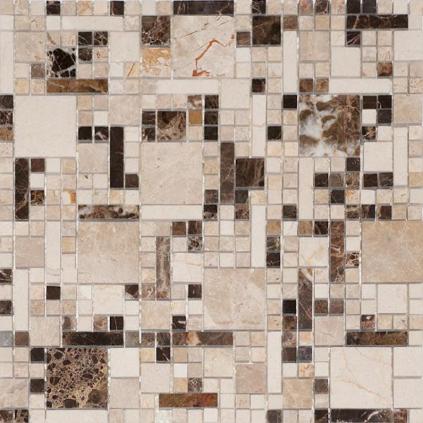 Матовая мозаика для ванной из стекла и натурального камня